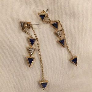 Jewelry - Blue triangle double strand earrings